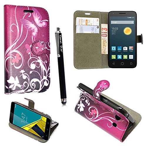 für Alcatel One touch Pop Star 5022D, Kamal Star® Kunstleder Tasche PU Schutzhülle Tasche Leder Brieftasche Hülle Case Cover + Gratis Universal Eingabestift (Butterfly Purple Book)