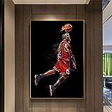 XXW Abstrait Art Peinture Michael Jordan Affiche Mouche Dunk Basketball Mur Photos pour Salon Décoration Chambre Sport Toile