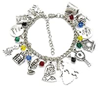 'Beauty and the Beast' Silver Plated Charm Bracelet with Gift Box Ladies Girls Jewellery