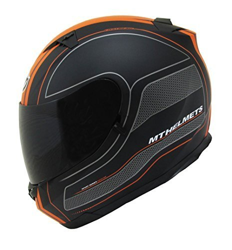 MT Lame Barre de Course Moto Casque intégral noir mat/orange
