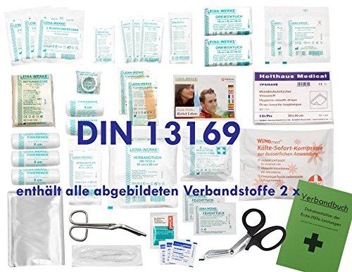 Komplett-Set Erste-Hilfe DIN 13169 EN 13 169 für Betriebe mit Verbandbuch inkl. Alkoholtupfer + Pinzette
