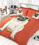 Rapport Pug Dog rosso doppio copripiumino con federe, copripiumino e 2 federe per letto matrimoniale, Set biancheria da letto, motivo: cagnolini