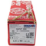 RAPID 2000 Holzbauschraube 4.5 x 80 mm - 200 Stück, TORX (TX 20) Star-Antrieb, Senkkopf mit Frästaschen, Doppelganggewinde und Schaftfräser , Spanplattenschraube galvanisch gelb verzinkt, mit Zulassung