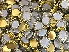 Idea Regalo - casa-vetro 50, 75, 100 o 125 St. Tappo a Corona Oro 26 mm Non Perforato - per Bottiglie di Birra Limone e per la Chiusura di Qualsiasi Bottiglia Standard, Gold, 125 Stück