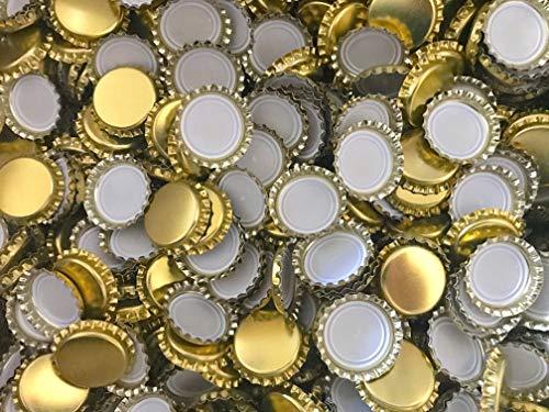 casa-vetro - Tapones de Oro para Botellas de Cerveza o de limón (26 mm, para Cerrar Cualquier Botella estándar), Dorado, 125 Stück