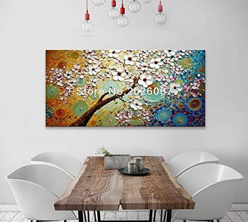 Strukturierte Leinwand Kunst (Orlco Art Ölgemälde mit blauem Kirschblütenblatt und blauem Baum, handbemalt, groß, abstrakte Kunst, Wanddekoration, Palettenmesser, strukturierte Ölgemälde auf Leinwand, Ölgemälde 24x48inch)