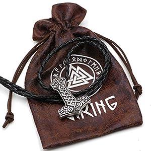 Klassischen Viking Odin Face mit zwei Viking Wölfe Amulett Thors Hammer Anhänger Halskette Mjölnir Steampunk skandinavischen Pagan Fenrir Nordic – Antik Silber Leder