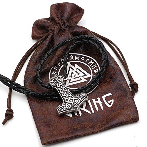 Clásico vikingo Odin cara con dos lobos vikingos amuleto Thors martil