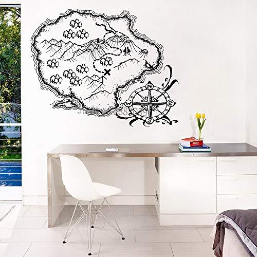 Sammlung Küche Der Insel (Schatzkarte Insel Vinyl Wandtattoo Lustige Aufkleber Reise Sammlung Wandaufkleber Teenager Room Decor Wandbild Kompass Poster 70x56 cm)