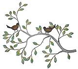 Frank Flechtwaren - Decoración para pared, diseño de rama con pájaros