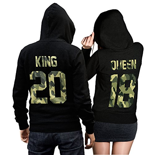 CVLR King Queen Pullover Pärchen Set Camouflage- 2 Hoodies für Paare - Couple-Pullover - Geschenk-Idee (King L + Queen L)