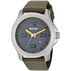 Roots Men's 'Core' Quartz Stainless Steel and Canvas Casual Watch, Color:Green (Model: 1R-LF400GY6G)