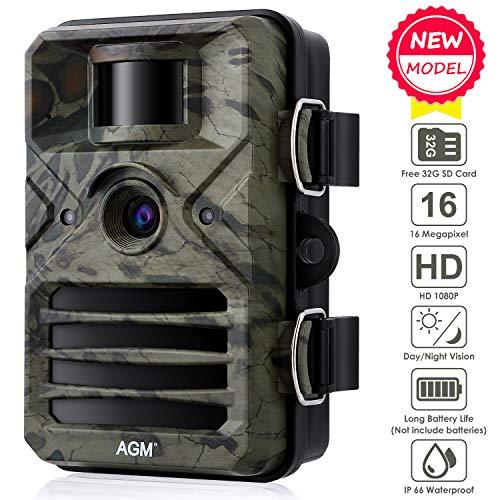 """AGM Wildkamera,16MP 1080P Full HD Jagdkamera mit 2.4\"""" LCD Display Design, 20m Nachtsicht Überwachungskamera,IP66 wasserdichte für Outdoor-Natur, Garten, Haussicherheitsüberwachung"""