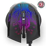 ENHANCE PC-Gaming-Maus mit 6 Tasten, 3500 DPI, Farbwechsel / verändernde LED-Beleuchtung, Seitlicher Knopf am Daumen & geflochtenes Nylon Kabel