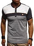 LEIF NELSON Herren Sommer Polo Shirt Poloshirt Sportshirt T-Shirt Freizeit Hemd Hoodie Slim Fit LN1420; Medium, Schwarz