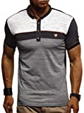 LEIF NELSON Herren Sommer Polo Shirt Poloshirt Sportshirt T-Shirt Freizeit Hemd Hoodie Slim Fit LN1420; Large, Schwarz