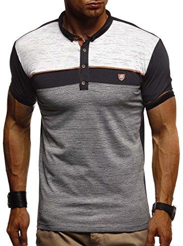 Leif Nelson Herren Sommer T-Shirt Polo Kragen Slim Fit Baumwolle-Anteil | Basic schwarzes Männer Poloshirts Longsleeve-Sweatshirt Kurzarm | Weißes Kurzarmshirts lang | LN1420 Schwarz XX-Large -