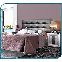 Cabecero tapizado PICASSO (CORTO) - Polipiel - Nilo 44 Plata, 180 cm ancho (para cama 160 ó 180 cm)., Botón tapizado igual que color