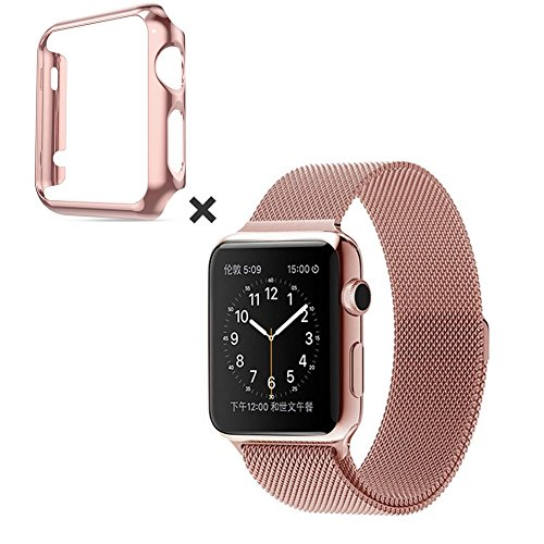 Apple Watch Strap pinhen 1 Series 2 Lock Magnet Single Stainless Steel Strap Replacement of the wrist band for Apple Watch All Models Not Needed Buckle, 38MM Rose