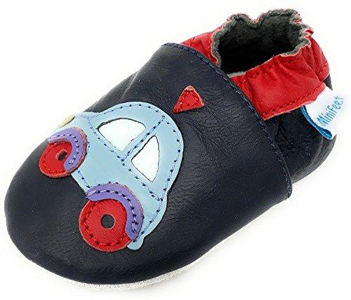 MiniFeet Premium Weiche Leder Babyschuhe, Auto 2-3 Jahre