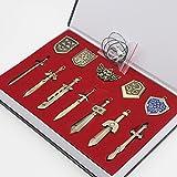SHINA The Legend of Zelda Schwert + Schild Waffe Halskette Pendant Schlüsselanhänger Schmuck Arsenal Set Box-Sammlung Cosplay Collection (12 Stk.)