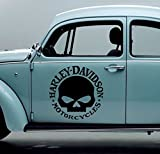 Streetwall Harley Davidson Logo Skull mit Schriftzug Größe M für Auto Motorrad Wohnmobil Anhänger