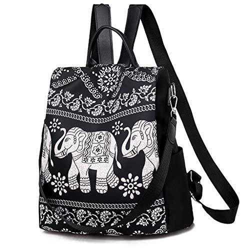 LIskybird Nylon Retro Elefant Print Rucksack Unisex Mittelschule Student Bag Wild Travel Rucksack (Ohrhörer Für Teen Jungen)