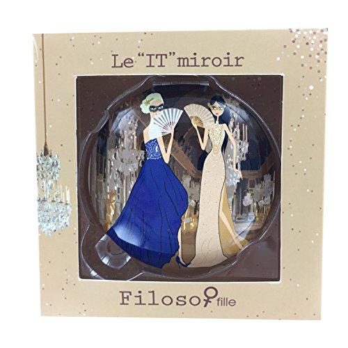 Filosofille Filo & Sofie Thème Versailles Miroir Double de Poche/Sac en Aluminium Diamètre 7 cm