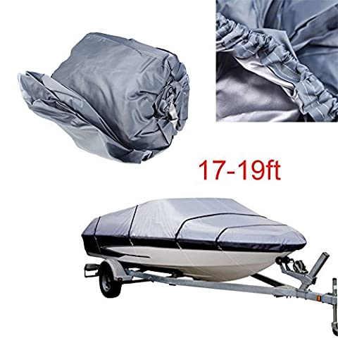 Dulcii 210D Heavy Duty Waterproof Boat Cover for 11-13ft/14-16ft/17-19ft/20-22ft Trailerable Speedboat Fishing Ski Boat Cover Waterproof UV Sun Protection Storage Grey (17-19ft)