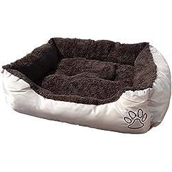 Cleanwizzard - Cama para animal doméstico (mullida, lavable) XL - 90 x 70 x 20 cm exterior beige (incluye bolsas para excrementos)