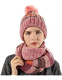 HORSE SECRET Cappello Sciarpa in Maglia Invernali da Donna - Berretto Beanie  con Pompon Sciarpa Knit Donna in Righe Caldo Cappello da Sci… dc88d7e76103