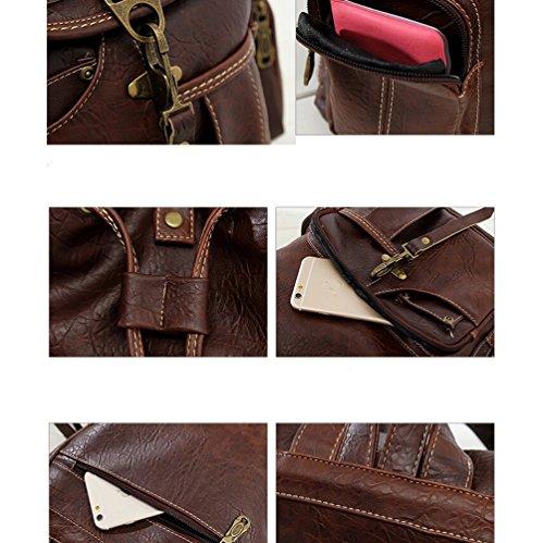 Damen Retro Rucksack Mädchen PU leder Freizeitrucksack Schulrucksäcke Vintage Daypacks Schultertaschen Für Reise Outdoor(Braun) Schwarz