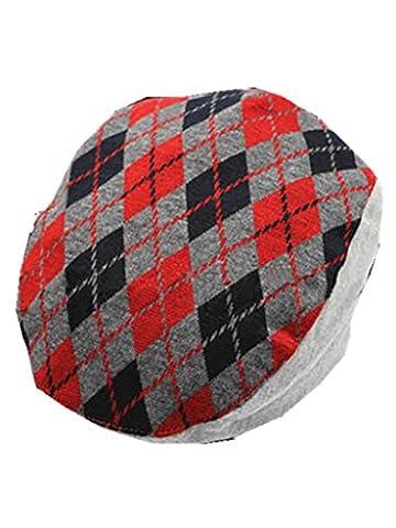 YICHUN Bébé Enfant Béret Casquette Carreau Classique Chapeau de Base-ball Bonnet(Tour de Tête: 50cm) (Rouge)