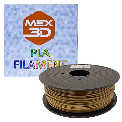MEX3D PLA-Filament, 1,75 mm, Gold, 1 kg Spule/Rolle, Kunststoffmaterial für 3D-Drucker / 3D-Stift, Vakuumverpackt