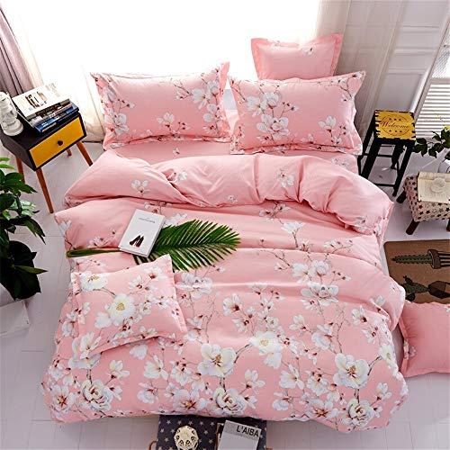 3 Stück Queen-size-schlafzimmer-set (UOUL Bettwäsche Set 4 Stück Baumwolle Atmungsaktiv Komfort Blumenmuster Fit Herr Frau Schlafzimmer 1,8mx2,2m 2mx2,3m King Size,Light pink,Queen)