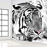 Wandgemälde Benutzerdefinierte Fototapete 3D Schwarzweiss-Tier Tiger Wandgemälde Wohnzimmer Eingang Schlafzimmer Hintergrund Dekor Wandbild Tapete,180Cm(H)×280Cm(W)