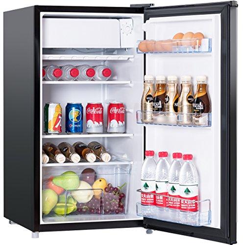 COSTWAY Kühlschrank mit Gefrierfach Standkühlschrank Gefrierschrank Kühl-Gefrier-Kombination / A+ / 91L / Schwarz