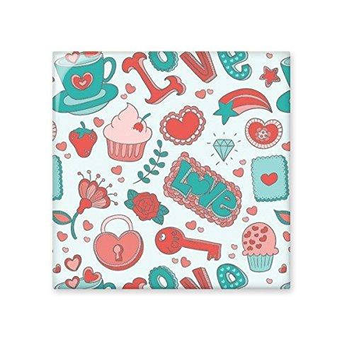 Valentine 's Day Love grün rot Cupcake Strawberry Herz Schloss Schlüssel Blume Rose Star Illustration Muster Keramik Bisque Fliesen für Dekorieren Zimmer Küche Keramik Fliesen Wand Fliesen Small