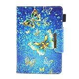 """HereMore Universel Étui pour 7"""" Tablet, Coque Housse de Protection en Cuir pour iPad Mini 4/3/2/1, Samsung Galaxy Tab A6 7.0, Huawei MediaPad T3 7"""", Fire 7, Lenovo Tab 3 7 Essential, Papillon"""