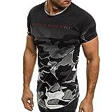 Holeider Herren Camouflage T-Shirt Kurzarm-Shirt Top Bluse Camouflage Casual Slim Sommer (M, Grau)