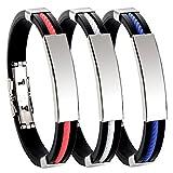 Contever Bracciale Braccialetto Wristband in Silicone Regolabile Acciaio Inox per Gli Uomini (3 pezzi)