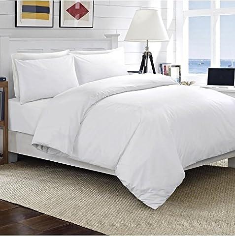 Galaxy Linge de lit en lin/Coton égyptien 200fils , blanc, Double