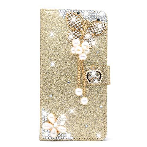 King phone Custodia Cover Samsung Galaxy A5 2016 A510 Glitter Sparkle Bling Libro Pelle Custodia Portafoglio Magnetica Chiusura Supporto di Stand Protettiva Custodia, Oro