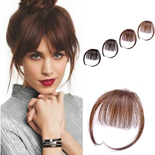 YoungSee Pony Extensions Echthaar Fringe Remy Hair Hellbraun Glattes Pony-Haarteil Extension Natur Haare