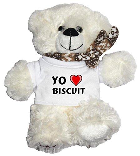Oso blanco de peluche con Amo Biscuit en la camiseta (nombre de pila/apellido/apodo)