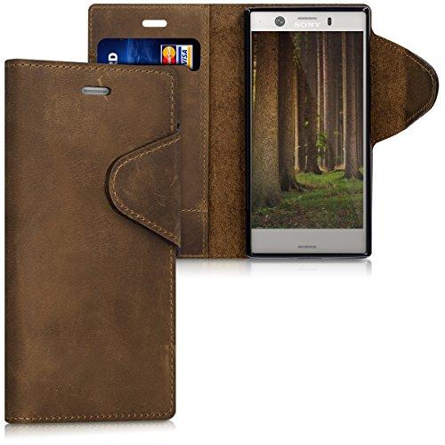 kalibri-Hlle-fr-Sony-Xperia-XZ1-Compact-Echtleder-Wallet-Case-Schutzhlle-mit-Fach-und-Stnder-in-Braun