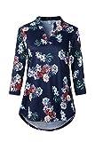 Genhoo Damen Elegant Bluse V-Ausschnitt Henley Shirt Casual Langarm Blumen Tunika Oberteile
