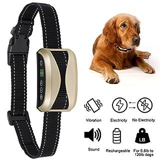 Adoric Life Dog Bark Collar, Adjustable Rechargeable Humane Rainproof Training Collar with 7 Sensitivity & 3 Modes, Beep Vibration & Safe Shock for Small Medium Large Different Sizes Dogs (Black)