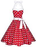 Zarlena Damen 50er Retro Rockabilly Pola Dots Petticoat Neckholder Kleid Rot mit weissen Dots 2X-Large 4250647201247k