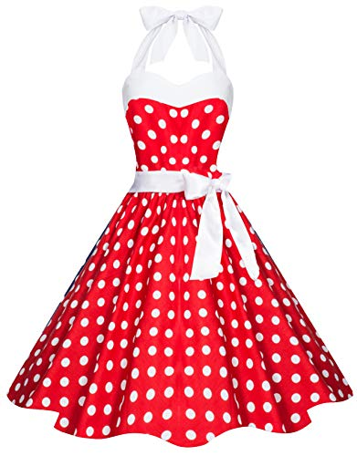 Kostüm Dot Polka Jahre 50er Kleid - Zarlena Damen 50er Retro Rockabilly Pola Dots Petticoat Neckholder Kleid Rot mit weissen Dots X-Large 4250647201520k
